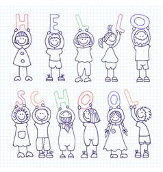 Set of icons hello school vector