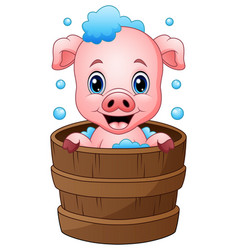 Smiling pig cartoon bathing vector
