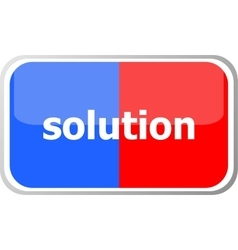 Solution word on web button icon isolated vector