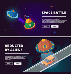 spaceships cartoon isometric pictures vector image
