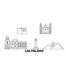spain las palmas line travel skyline set spain vector image