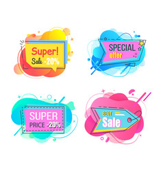 super and special sale offer stickers set vector image