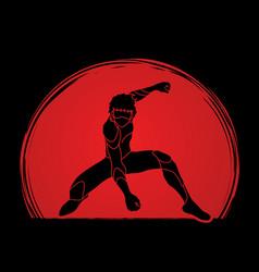 Superhero landing action cartoon superhero man vector