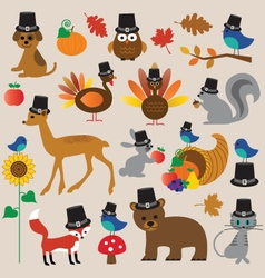 Thanksgiving animals vector