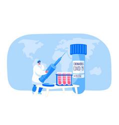 Tiny nurse female character holding huge syringe vector