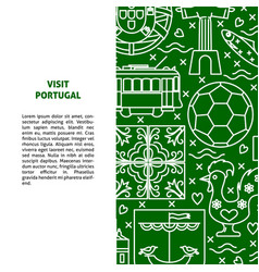 Travel portugal concept banner template in line vector