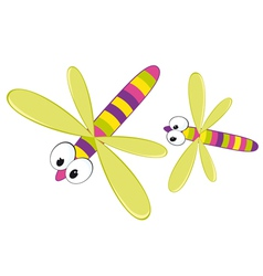 Two cartoon dragonfly vector