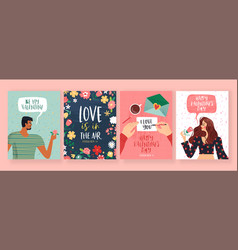 valentines day love people greeting card set vector image