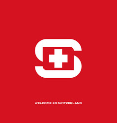welcome to switzerland letter s with element and vector image