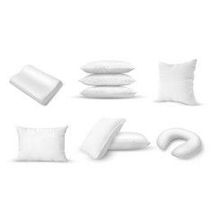 white pillows different shapes blank cushions vector image