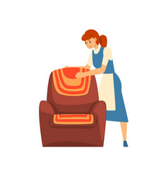 Woman cleaning furniture maid character wearing vector