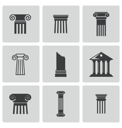black column icons set vector image