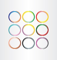 colorful circle frames set elements vector image vector image