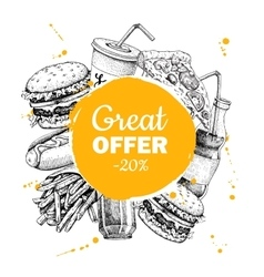fast food sketch circle frame for special vector image