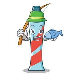 fishing toothpaste character cartoon style vector image vector image