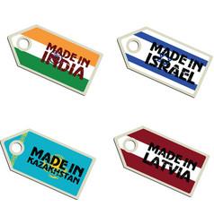Label made in india israel latvia macedonia vector