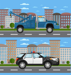 tow truck and police car in urban landscape vector image vector image