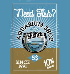 color vintage aquarium shop banner vector image vector image