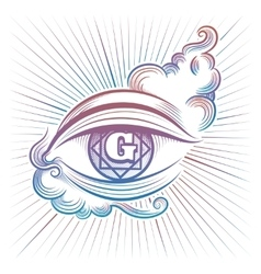 Colorful spiritual eye design vector image