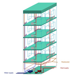 communications of a multistory apartment building vector image vector image