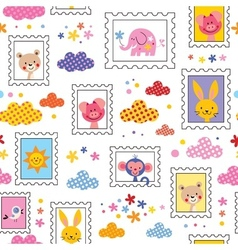 cute baby animals pattern vector image vector image