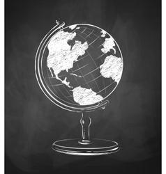 Globe drawn on chalkboard vector image vector image