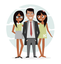 man surrounded by two beautiful girls successful vector image vector image