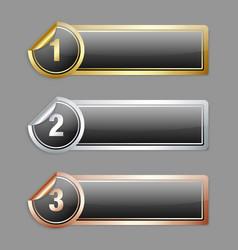 Metallic sticker banners vector image