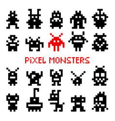 pixel space monsters vector image vector image