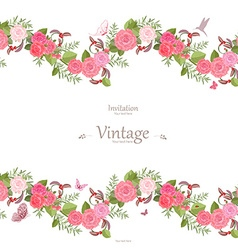 seamless border of lovely roses and butterflies vector image vector image