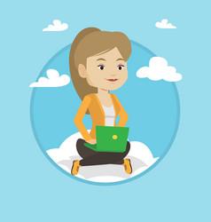 woman using cloud computing technology vector image