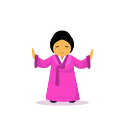 asian woman cartton character wearing traditional vector image