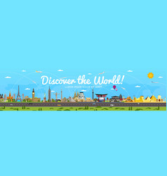 discover the world poster with famous attractions vector image vector image