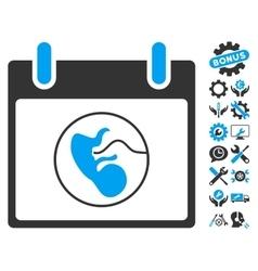Embryo Calendar Day Icon With Bonus vector image vector image