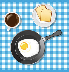 Fried egg with toasts and coffee vector image vector image