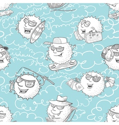 pattern with sun characters and summer activity vector image
