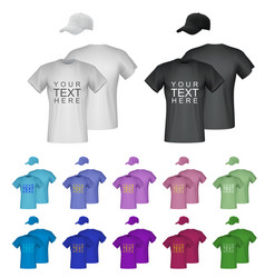 plain male t-shirt templates isolated background vector image vector image