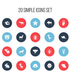 Set of 20 editable zoo icons includes symbols vector