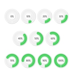 Set of green round charts vector image vector image