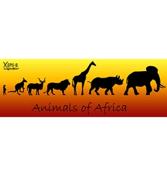 Silhouettes of animals of Africa vector image vector image