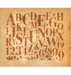 vintage gothic alphabet craft vector image vector image