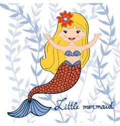 A beautiful little mermaid vector