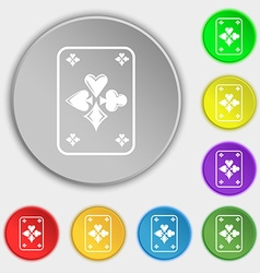 game cards icon sign Symbol on eight flat buttons vector image vector image