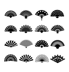 hand paper fan icons chinese or japanese vector image vector image