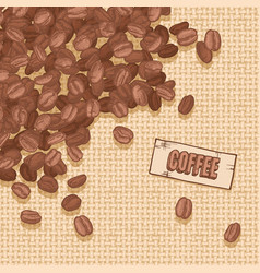 label coffee with coffee beans vector image