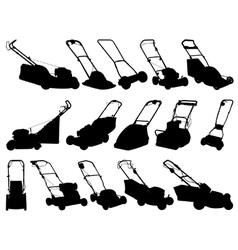 Lawn mower silhouettes vector
