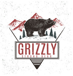 old retro logo with bear grizzly vector image vector image