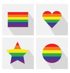 Pride flat icon set vector image