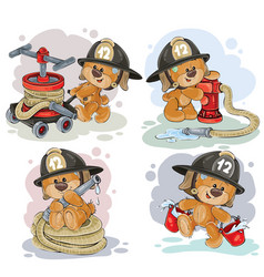 teddy bear firefighter with rescue equipment vector image vector image