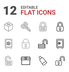 12 closed icons vector image